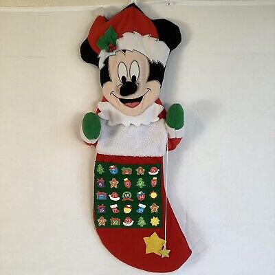 HTF VTG Talking Mickey Mouse Disney Advent Calendar Stocking Shaped Plush WORKS