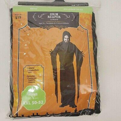 Grim Reaper Adult Plus Size Hooded Robe Costume Mens XXL 50-52