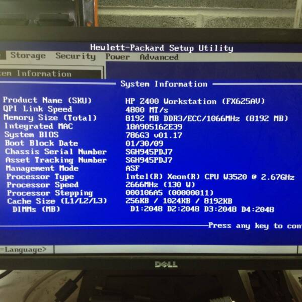 HP Z400 WORKSTATION Intel Xeon W3520@2 67Ghz QUADRO FX1800 8GBRAM