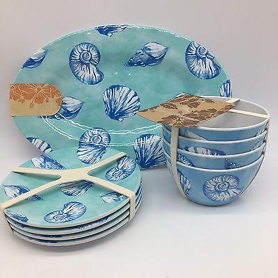 9pc Tommy Bahama Seashell Melamine Serving Tray Appetizer Bowl Plate Blue Set