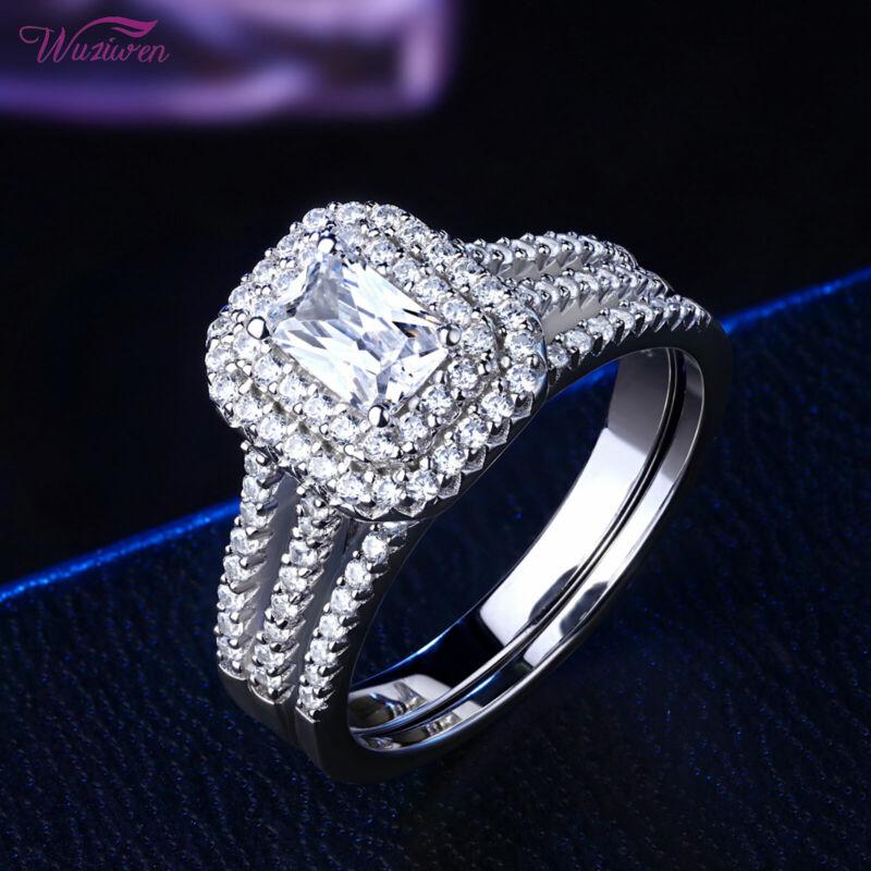 Wuziwen Wedding Engagement Ring Set 2ct Emerald Aaaa Cz Blue 925 Sterling Silver