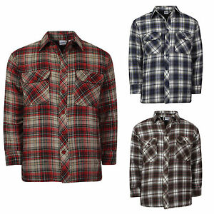 Mens boys padded quilted lined lumberjack y d check for Mens padded lumberjack shirt