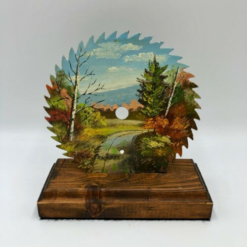 """Hand Oil Painted Circular Saw Blade w/ Stand Autumn Nature Scene Signed 7.25"""""""