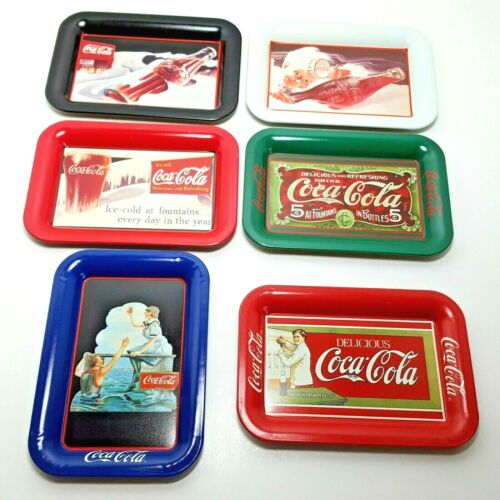 Coca Cola Miniature Advertising Metal Serving Trays Repro Vintage 80s 90s