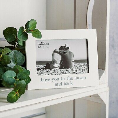 Sass & Belle White Wood Love You to Moon & Back Photo Frame Reduced to Clear