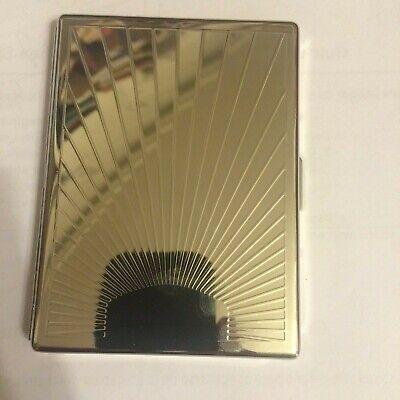 Silver Art Deco Sunbeam Scroll Business Credit Card Holder Cigarette I.D. Case covid 19 (Id Credit Card Cigarette Case coronavirus)
