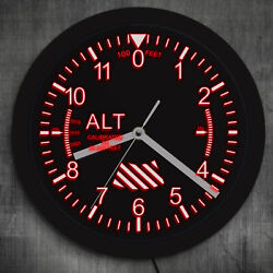 Altimeter Neon Sign LED Wall Clock Altitude Meter Tracking Pilot Air Plane Clock