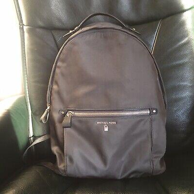 MICHAEL KORS Kelsey Large Nylon Backpack - Leather Trims - Grey/Khaki