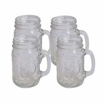 Beehive Rooster Design - Set of 4 Mason Jar Glasses 17.5oz 61596