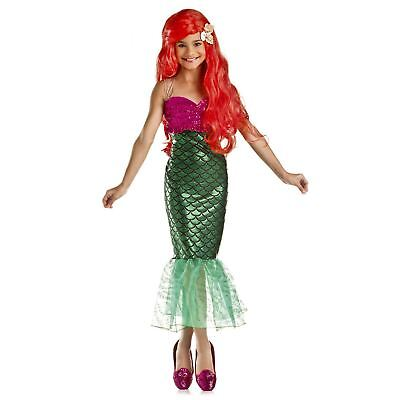Kids Girls Sweet Little Mermaid Green Tail Halloween Cosplay Costume Dress S M L - Green Mermaid Costume