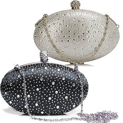 LADIES DIAMANTE PARTY PROM BRIDAL EVENING CLUTCH HAND BAG HARD CASE HANDBAG
