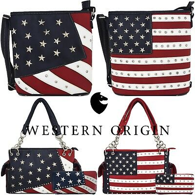 American Flag Stars and Stripes Concealed Carry Purse Crossbody Handbag Wallet ()
