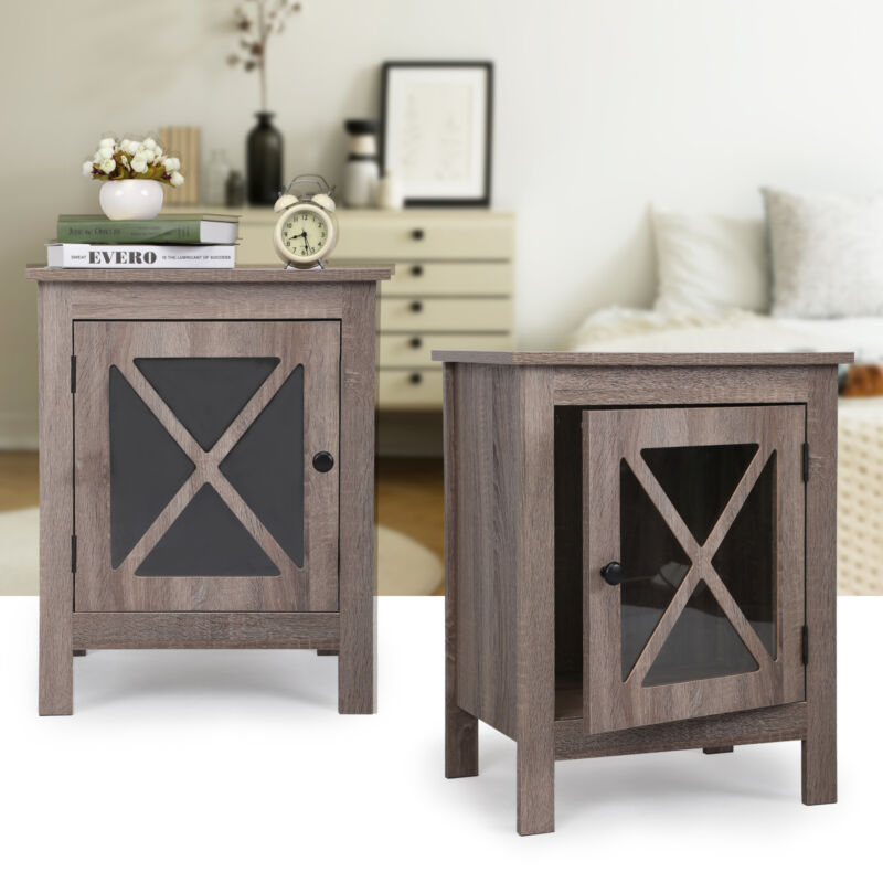 Set of 2 Wooden Nightstand X-Design Glass Door End Table Sofa Table Side Table
