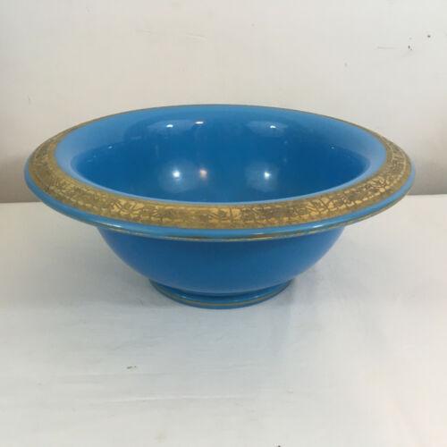 Vintage Cambridge Azurite Opaque Blue Rolled Rim Bowl Gold Encrusted Decoration