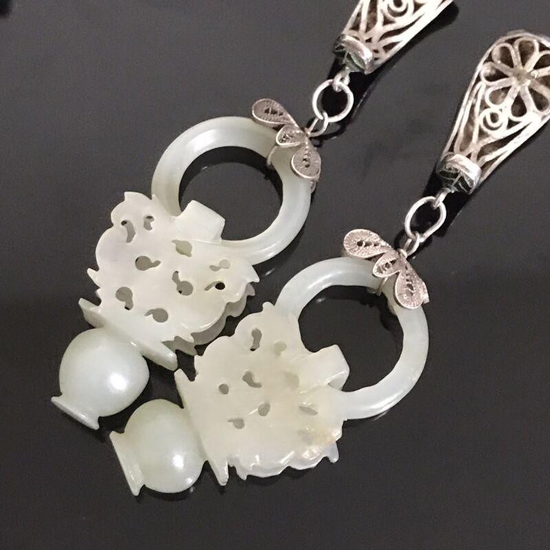 A Pair Of Vintage Chinese Carved White jade+ Enamel +Filigree earrings