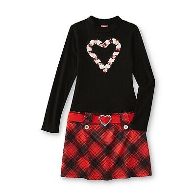 Girl Candy Cane Dress - Black & Red - Size 8 -Plaid A-line - Candy Cane Dresses