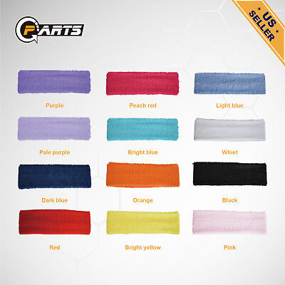 12pcs Women/Men Cotton Sweatband Headband Stretch Head For Sport Sweat Yoga Gym
