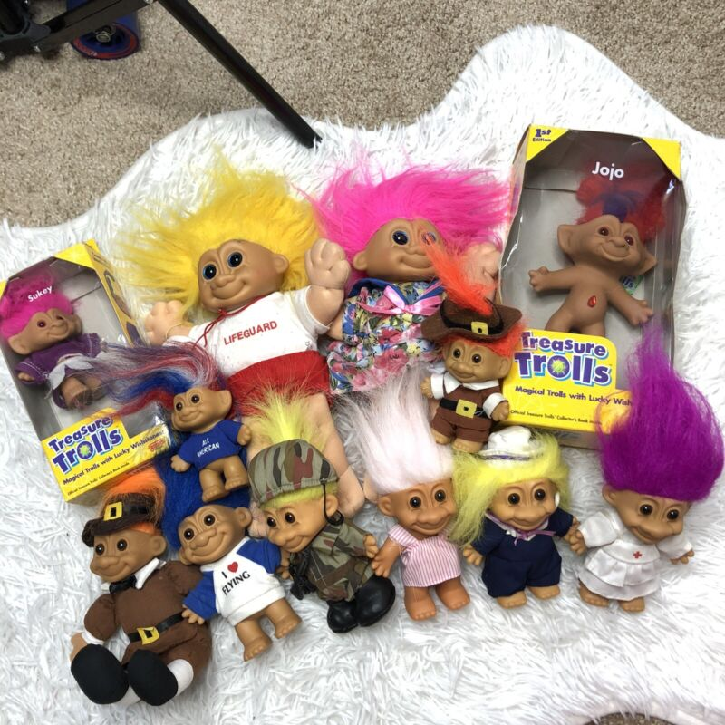 Lot of Vintage Treasure Trolls Galoob Russ