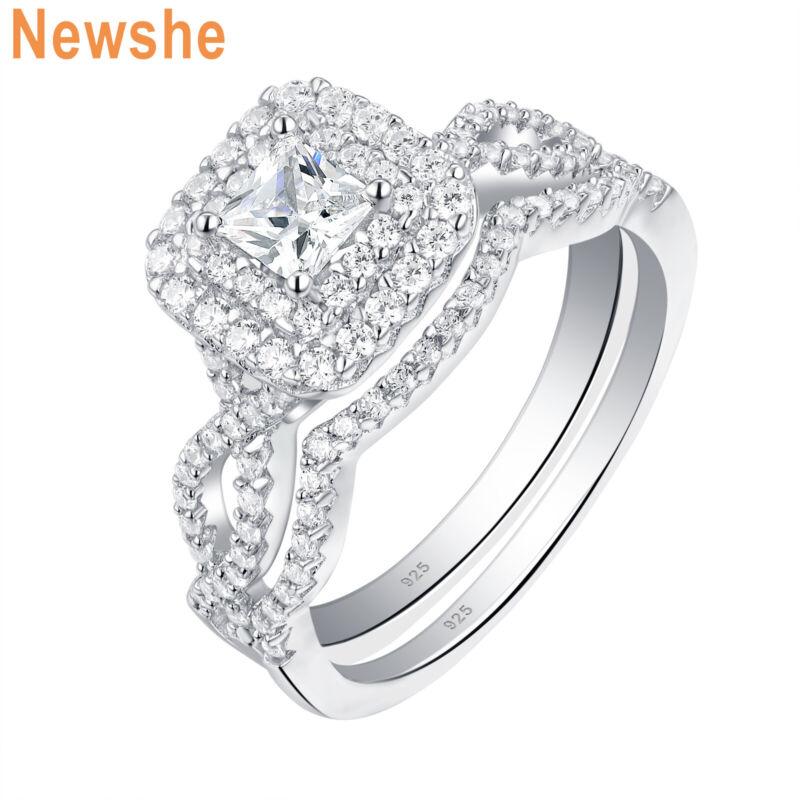 Newshe Wedding Engagement Ring Set 1.3ct Princess Cz 925 Sterling Silver Sz 5-10