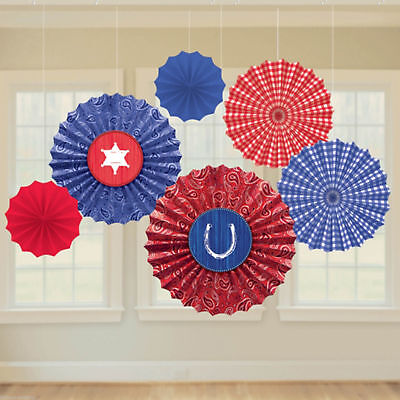 Western Bandana Party Supplies Paper Fan Decorations 6ct.