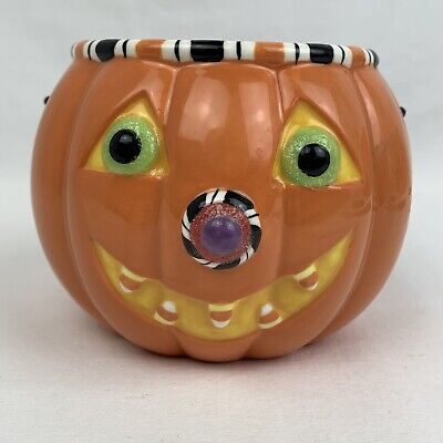 Hallmark Halloween Ceramic Pumpkin Jack o' Lantern Candy Treat Dish with Handle