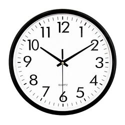 UMEXUS Black Quartz Round Wall Clock Silent Non Ticking Battery Operated 10 Inch