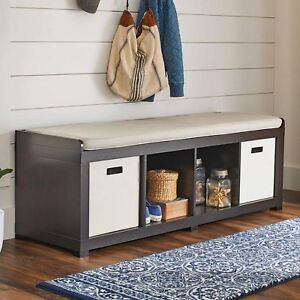 Entryway Storage Bench Wood Room Cushion Sitting Furniture Upholstered