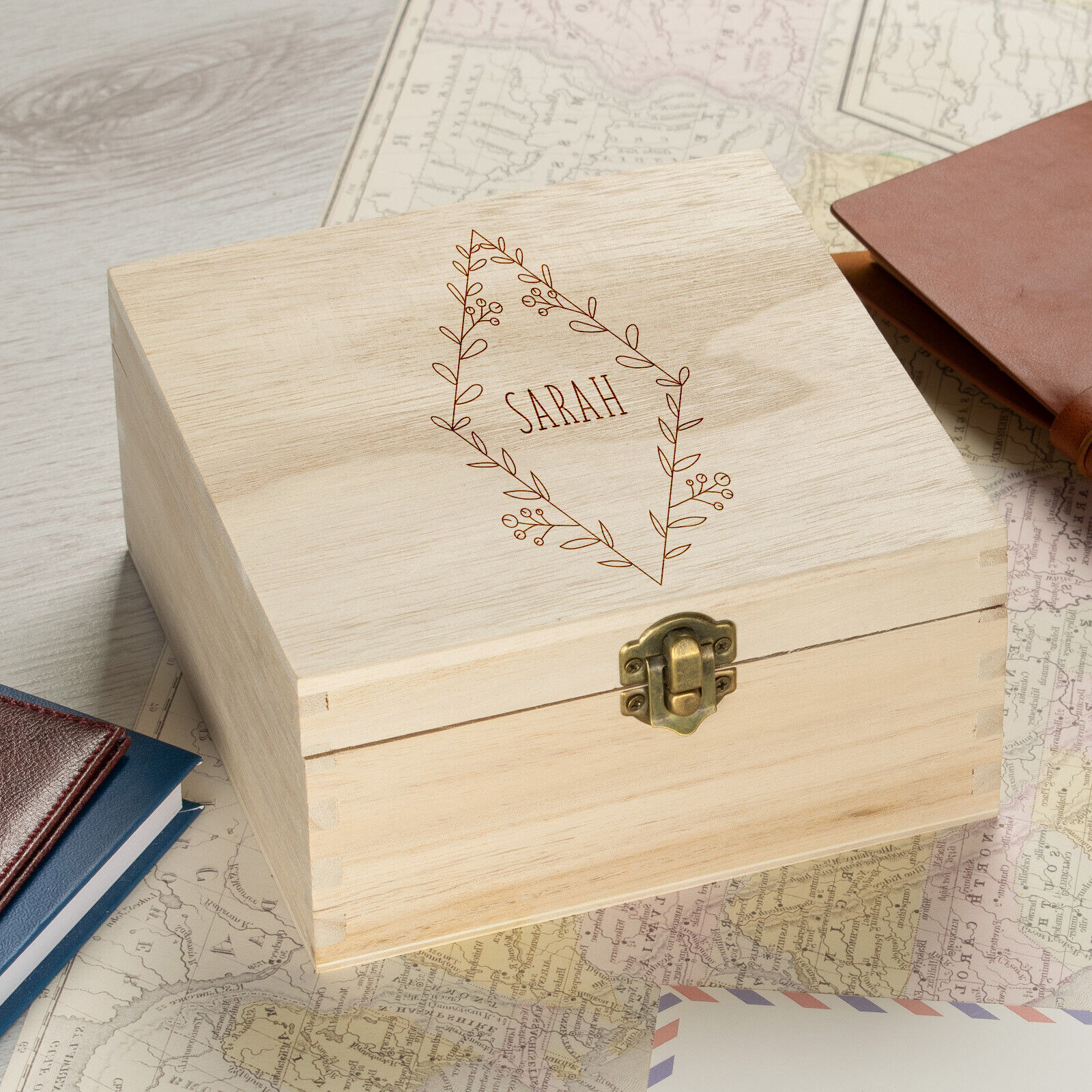 Details About Personalised Wooden Keepsake Box Wedding Memory Engraved Gifts Any Name