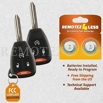 Replacement for Chrysler Jeep Dodge Keyless Entry Remote Start Car Key Fob Pair