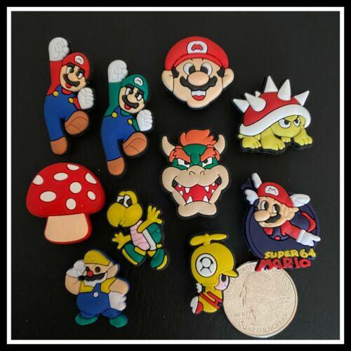 SET of 11 Shoe Charms for Crocs MARIO Controller Luigi Goomba Toad Yoshi Peach