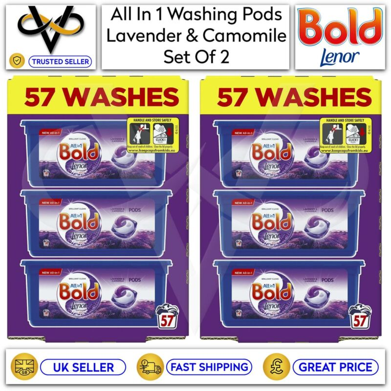 2 x Bold All In 1 Pods Lavender & Camomile Washing Liquid Capsules 57 Washes