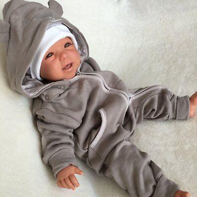 Overall Kapuze (NEU Baby Mädchen Jungen Strampler Overall mit Kapuze Einteiler 56 62 68 74 80 86)