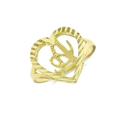 10K Solid Yellow Gold Heart Initial Letter Ring - A-Z Any Alphabet Love Band New 10k Gold Love Ring