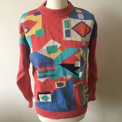 Vintage Paco Jumper size Small / MediumAbstract Geometric Pink Retro Geek Cotton