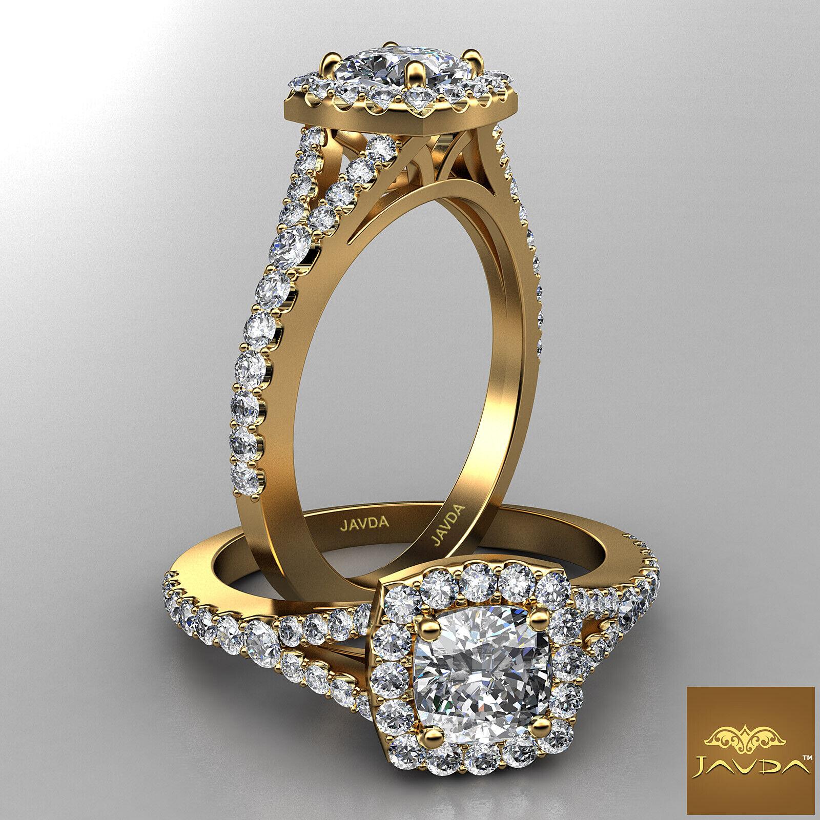 Split Shank Cushion Diamond Engagement Yellow Gold U Pave Ring GIA H VVS2 1 Ct