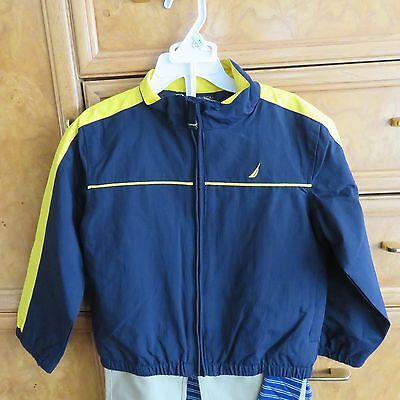Toddler boys Nautica 3 piece set pants shirt zip jacket 4T brand new NWT $74.50
