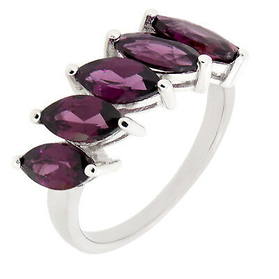 (Genuine Purple Red Rhodolite Garnet Marquise multi-stone ring R213RG)