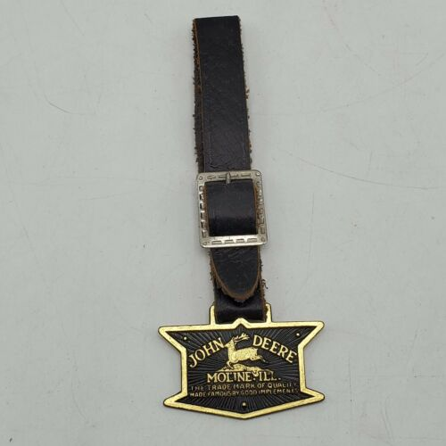 Vintage John Deere Moline Ill. Quality Implements Leaping Deer Watch Fob & Strap