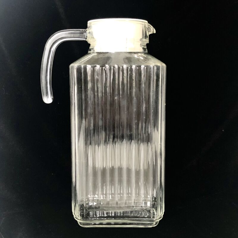 Vintage ARC France Ribbed Glass Juice/Water Pitcher White Lid Refrigerator
