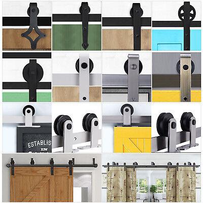 Door Wood Kit - 2FT-10.8FT Sliding Barn Wood Door Hardware Closet Kit Single/Double/Bypass Doors