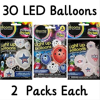 White Light Up Balloons (Illooms Patriotic LED Light-Up Balloons Lot/6pks (30pcs) July 4th Red White)