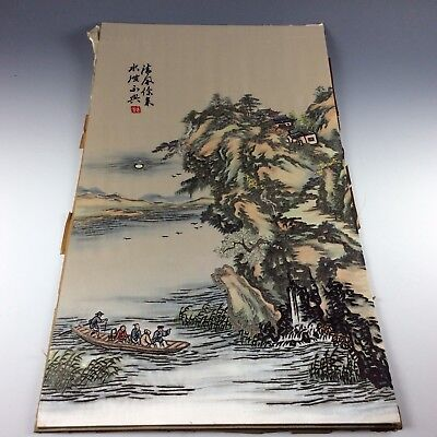 Superb Chinese Antique Silk Embroidery Painting Sampler Landscape Originial