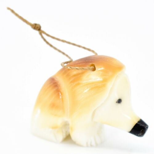 Hand Carved Tagua Nut Carving Hanging Hedgehog Ornament Made in Ecuador