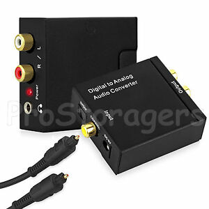 UK Digital Optical Coax Coaxia Toslink to Analog RCA Audio Converter Adapter R/L