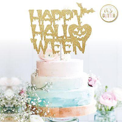 Happy Halloween Cake Topper pumpkin topper glitter cake topper, halloween decor ()