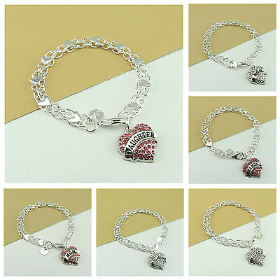925 Silver Plated HEART Braclet With Personalised GRANDMA DAUGHTER SISTER CHARM (Sister Braclets)