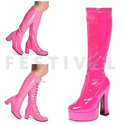 Pink Kniehoch Ösen Plateau Kostüm 60's 70's Retro Disco Go Go - Kostüm Knie Stiefel