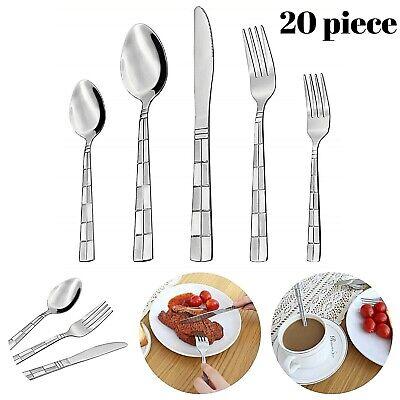 Flatware - Flatware Cutlery Set Stainless Steel 18/10 Silverware 20 Piece Spoon Fork Knife