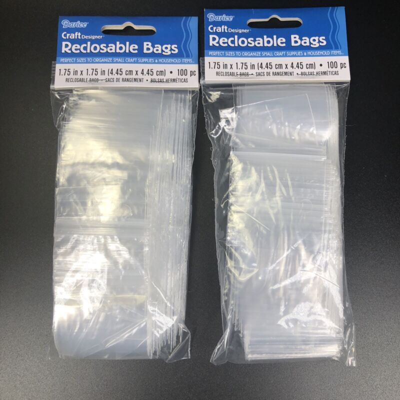 "Darice Reclosable Bags 100/Pkg-1.75""X1.75"" Clear, 1115-07 (2 Packs)"