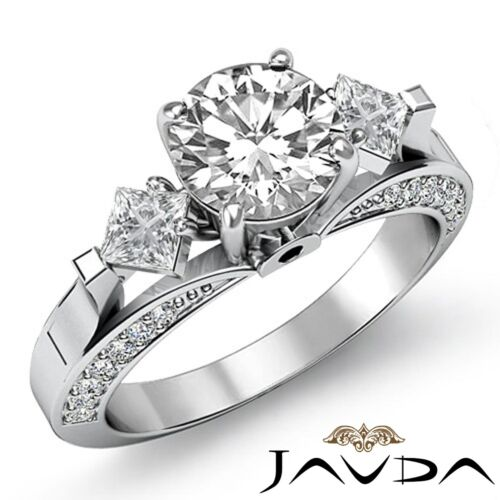 2.45ct Natural Round Diamond Engagement 3 Stone Ring GIA F SI1 14k White Gold